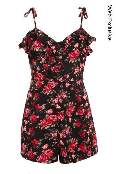 Black & Red Floral Playsuit